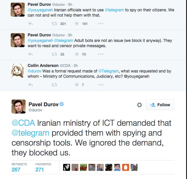 Iran Blocked Telegram App After Demanding Spying Tools